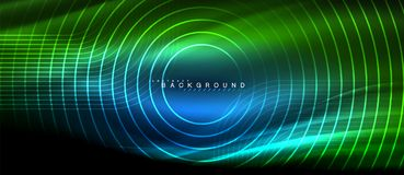 Neon glowing lines, magic energy space light concept, abstract background wallpaper design. Vector illustration Stock Photo