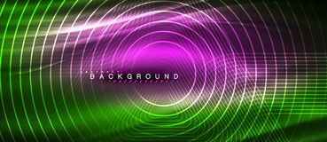 Neon glowing lines, magic energy space light concept, abstract background wallpaper design. Vector illustration stock illustration