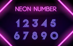 Neon glowing lines, neon number concept vector illustration