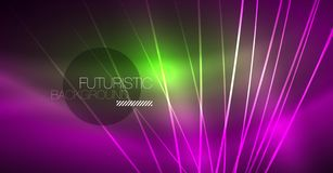 Neon glowing magic background, neon banner, night sky wallpaper. Magic light effect. Christmas abstract pattern. Neon glowing magic background, neon banner royalty free illustration