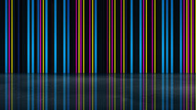 Neon glowing multicolor lines with reflection. Abstract 3D rende Stock Photography