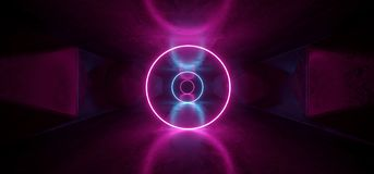 Neon Glowing Psychedelic Vibrant Cosmic Ultraviolet Fluorescent Luxurious Luminous Sci Fi Futuristic Retro Circle Lights Purple. Blue Grunge Concrete Tunnel 3D vector illustration