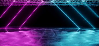 Neon Glowing Purple And Blue Tube Triangle Shaped Laser Stage Li. Ghts On Black Background With Reflective Grunge Concrete Surface And Stage Structure Background royalty free illustration