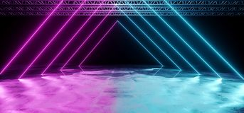 Neon Glowing Purple And Blue Tube Triangle Shaped Laser Stage Li. Ghts On Black Background With Reflective Grunge Concrete Surface And Stage Structure Background stock illustration