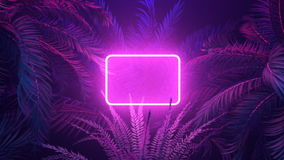 Neon glowing rectangle frame appears in the tropical forest at windy night. Illuminates palm trees with trendy aesthetic violet light. 3D render animation with stock video