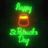 Neon glowing saint patricks day sign with pot of treasure on a brick wall background. National Irish holiday symbol. Vector illustration Royalty Free Stock Images