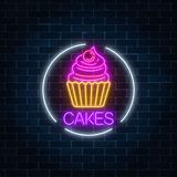 Neon glowing sign of cake with cream and cherry in circle frame on a dark brick wall background. Fastfood light billboard symbol. Cafe menu item. Vector stock illustration