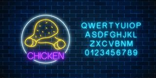 Neon glowing sign of chicken legs in circle frame with alphabet. Fastfood light billboard symbol. Cafe menu item. Neon glowing sign of chicken legs in circle stock illustration