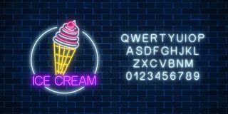 Neon glowing sign of icecream with glaze in circle frame with alphabet. Ice-cream in waffle cone. Neon glowing sign of icecream with glaze in circle frame with stock illustration
