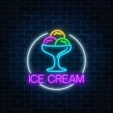 Neon Glowing Sign Of Icecream In Circle Frame On A Dark Brick Wall Background. Gelato Balls In Bowl. Royalty Free Stock Image