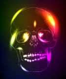 Neon glowing skull Stock Photos