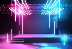 Free Neon Glowing Stage And Lighting Royalty Free Stock Images - 115597479