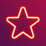 Neon glowing star. Stock Photos