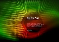 Neon glowing techno hexagon shape lines, hi-tech futuristic abstract background, landing page template. Vector illustration stock illustration