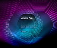 Neon glowing techno hexagon shape lines, hi-tech futuristic abstract background, landing page template. Vector illustration Vector Illustration
