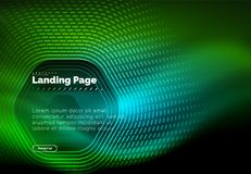 Neon glowing techno hexagon shape lines, hi-tech futuristic abstract background, landing page template. Vector illustration royalty free illustration