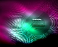 Neon glowing techno lines, hi-tech futuristic abstract background template with circles, landing page template. Vector illustration Stock Photography