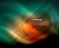 Neon glowing techno lines, hi-tech futuristic abstract background template with circles, landing page template. Vector illustration Royalty Free Stock Photo