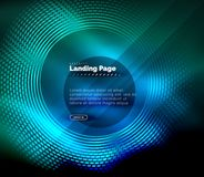 Neon glowing techno lines, hi-tech futuristic abstract background template with circles, landing page template. Vector illustration Royalty Free Stock Photos