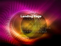 Neon glowing techno lines, hi-tech futuristic abstract background template with circles, landing page template. Vector illustration Stock Image