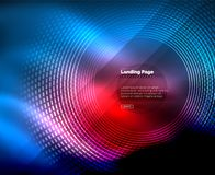 Neon glowing techno lines, hi-tech futuristic abstract background template with circles, landing page template. Vector illustration Stock Photo
