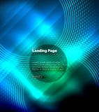 Neon glowing techno lines, hi-tech futuristic abstract background template with circles, landing page template. Vector illustration Royalty Free Illustration