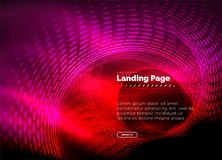 Neon glowing techno lines, hi-tech futuristic abstract background template with circles, landing page template. Vector illustration Royalty Free Stock Image