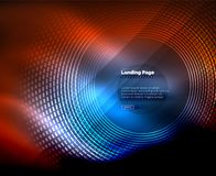 Neon glowing techno lines, hi-tech futuristic abstract background template with circles, landing page template. Vector illustration vector illustration
