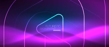 Neon glowing techno lines, hi-tech futuristic abstract background template with geometric shapes. Neon blue color glowing techno lines, hi-tech futuristic royalty free illustration