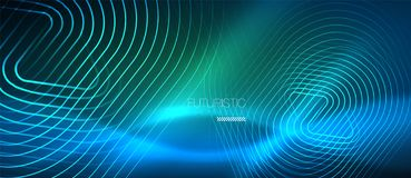 Neon glowing techno lines, hi-tech futuristic abstract background template with geometric shapes royalty free illustration