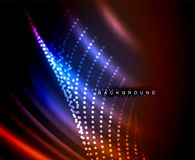 Neon glowing techno lines, hi-tech futuristic abstract background template with square shapes. Vector illustration Stock Images