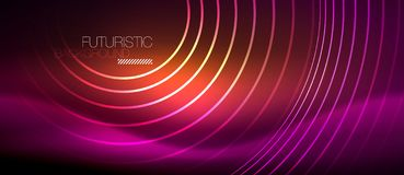 Neon glowing techno lines, hi-tech futuristic abstract background template with square shapes. Vector vector illustration