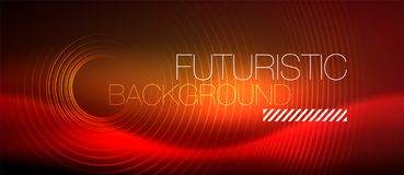 Neon glowing techno lines, hi-tech futuristic abstract background template with square shapes stock illustration