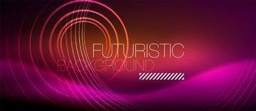 Neon glowing techno lines, hi-tech futuristic abstract background template with square shapes vector illustration