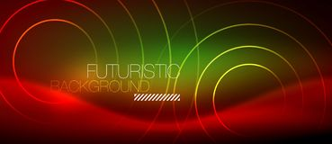 Neon glowing techno lines, hi-tech futuristic abstract background template with square shapes royalty free illustration