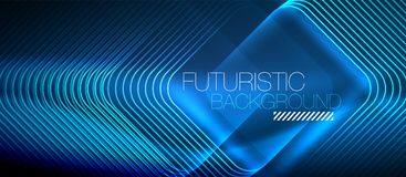 Neon glowing techno lines Royalty Free Stock Images