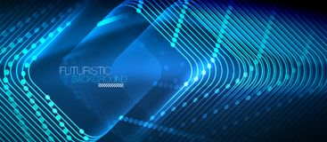 Neon glowing techno lines Stock Photos