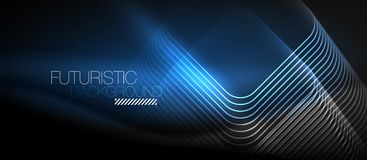 Neon glowing techno lines Royalty Free Stock Photos