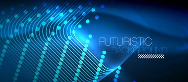 Neon glowing techno lines Royalty Free Stock Photo