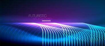 Neon glowing techno lines. Hi-tech futuristic abstract background template with square shapes Royalty Free Stock Images