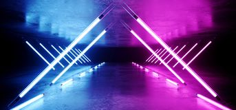 Neon Glowing Triangle Shaped Sci Fi Futuristic Modern Elegant Ultraviolet Stage Long Tunnel Road With Purple Blue Lights Empty vector illustration