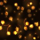 Neon gold bokeh effect seamless pattern Stock Photo