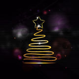 Neon gold christmas tree Stock Image