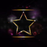 Neon gold star  border background. Neon star on a black glowing background Royalty Free Stock Photography