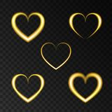 Neon golden  heart for Happy Valentine`s Day card. Neon golden  heart. Love.  Light gold  effect for Happy Valentine`s Day banner, greeting card . Laser glow Royalty Free Stock Photos