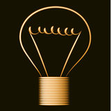Neon golden light bulb, black background Stock Image