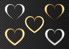 Neon golden and silver  heart  for  Valentine`s  Day card. Neon golden and silver  heart. Love.  Light effect for Happy Valentine`s  Day banner, greeting card Royalty Free Stock Photography