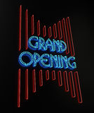 Neon Grand Opening Sign. On black. 3D image stock illustration