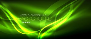 Neon green elegant smooth wave lines digital abstract background. Neon elegant smooth wave lines vector digital abstract background Royalty Free Stock Photo