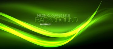 Neon green elegant smooth wave lines digital abstract background. Neon elegant smooth wave lines vector digital abstract background Stock Image